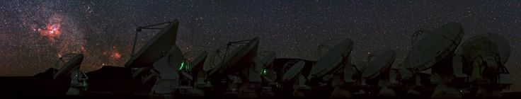 Thursday, Nov. 14, 2013: The Carina Nebula glows in the sky above Chajnantor Plateau, in the Chilean Andes. In the foreground, shadowy figures of antennas of the Atacama Large Millimeter/submillimeter Array (ALMA) stand. Carina Nebula lies about 7500 light-years from Earth in the constellation of Carina (The Keel). The cloud of glowing gas and dust represents the one of brightest nebulas in the sky. It contains several of the Milky Way%u2019s brightest and most massive known stars, such as…