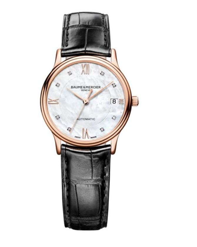 Model:Classima Lady Automatic Ref. M0A10077 Movement:Automatic Gender:Female Complications:Date, Minute Hand, Second Hand, Hour Hand Shape:Round Case Material:Red Gold 5N Dail colour:Mother of Pearl with Diamond Hourmarkers Size:33 mm Material:Croco-leather Price:€ 5 200 @colman.be