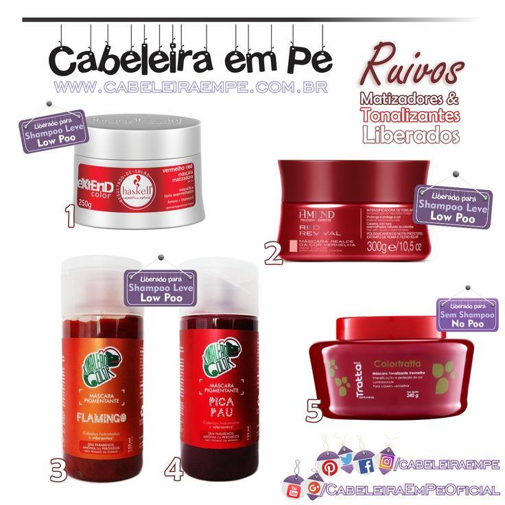 TONALIZANTES MATIZADORES VERMELHOS PARA CABELOS RUIVOS - Haskell extend Red (Low Poo), Amend Red Revival (Low Poo), Kamaleão Color Flamingo e Pica Pau (Low Poo), Trattabrasil Colortratta (No Poo)