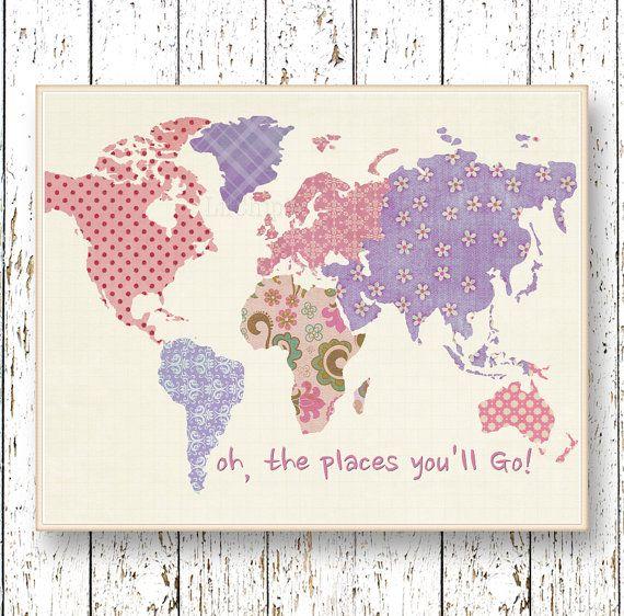 Lila Lavendel rosa Welt Karte Kunst Oh die Orte die von LilChipie