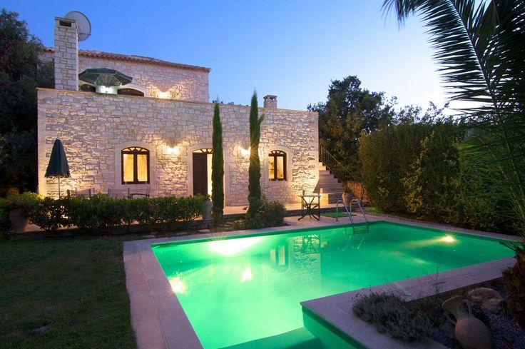 Holiday Villa in Rethymno, Crete - Olympia stone built traditional pool villa