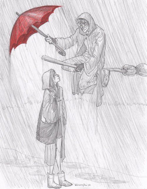 Situación: Cuando llueve el Lago Negro es realmente inspirador, el lugar ideal para dibujar, por eso me fui preparada para pasar toda la mañana bajo la lluvia. Pero lo que no me esperaba es que, mi paraguas saliera volando y volviera a mi en manos de Potter, vestido de los colores de uno de mis superheroes favoritos *Flash*