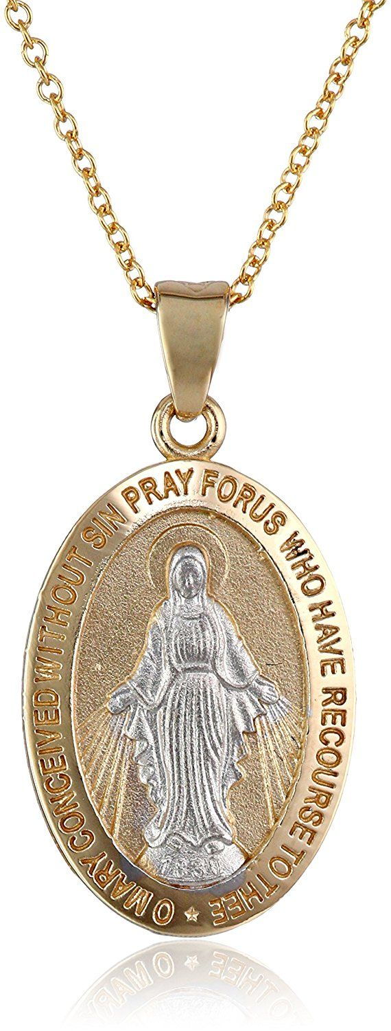 14k Gold Two-Tone Virgin Mary Miraculous Oval Medal Necklace, 18' *** Check out the image by visiting the link.
