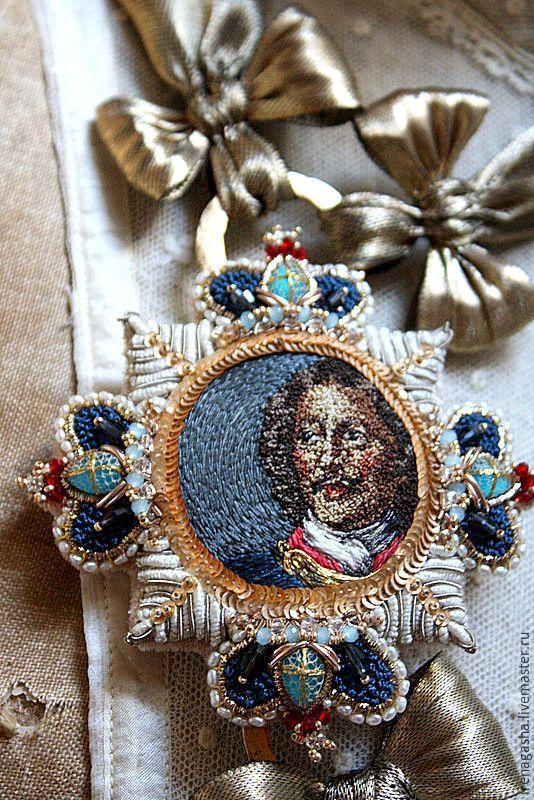 Купить Брошь В15019 - ручная вышивка, авторская ручная работа, ирена гаша, орден, брошь