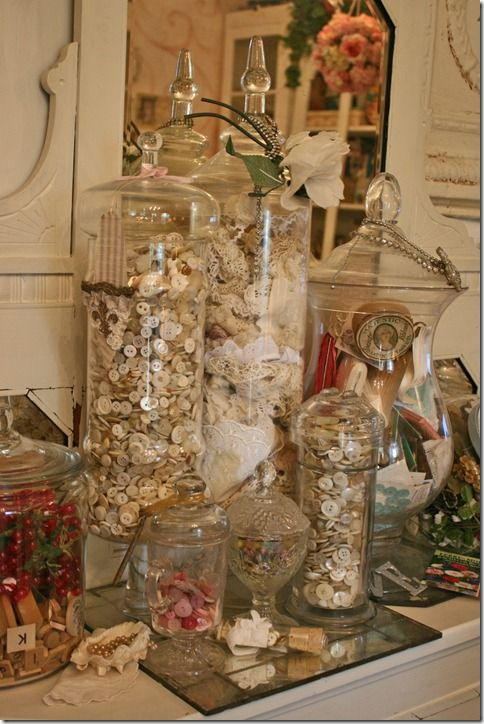 ♥  apothecary jars of buttons, lace and misc. sewing notions