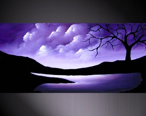 """Landscape Painting """"Purple Rain"""" by Osnat Tzadok"""