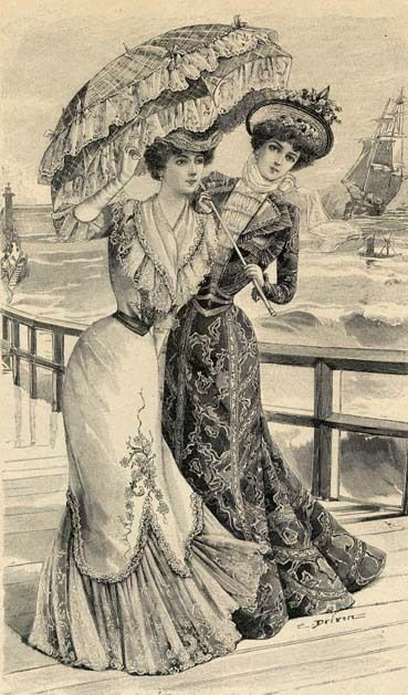 Print showing women in day dresses, 1900's