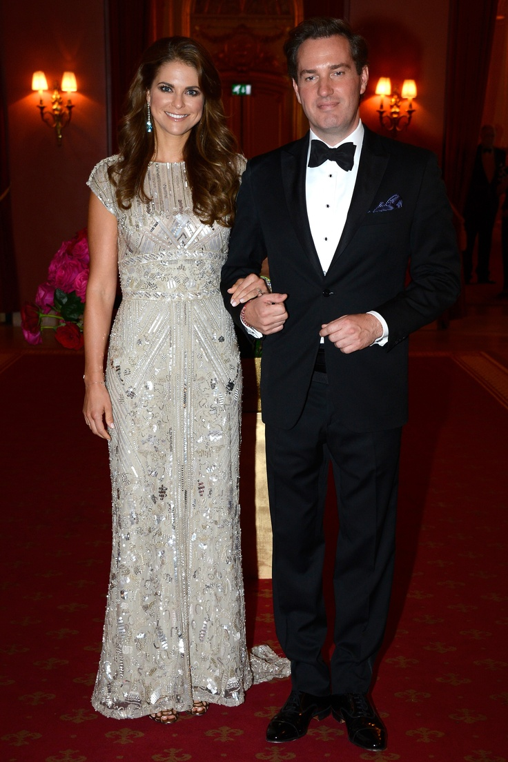 Princess Madeleine of Sweden wears an ELIE SAAB Resort 2013 embroidered gown to attend a private dinner on the eve of her wedding hosted by King Carl XVI Gustaf and Queen Silvia in Stockholm, Sweden.