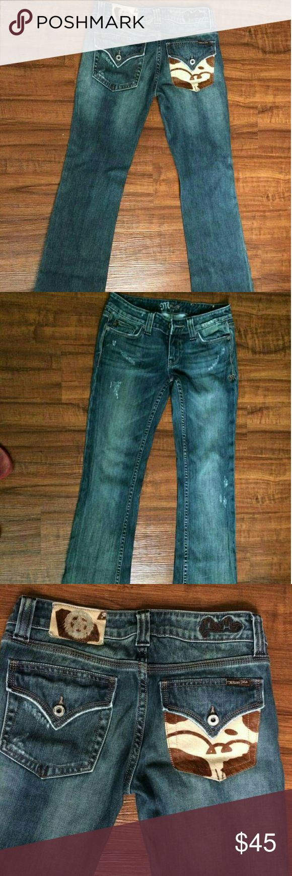 Miss Me Jeans! Faux cow hide pocket Miss Me jeans only worn a couple of times. No holes, rips or tears, great condition, manufacture wear on hem Miss Me Jeans Boot Cut