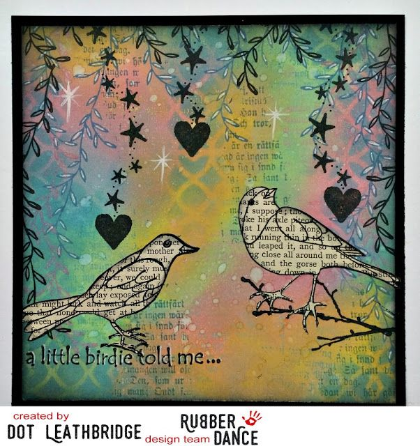 * Rubber Dance Blog *: greeting card with birds and Distress oxide inks tim holtz