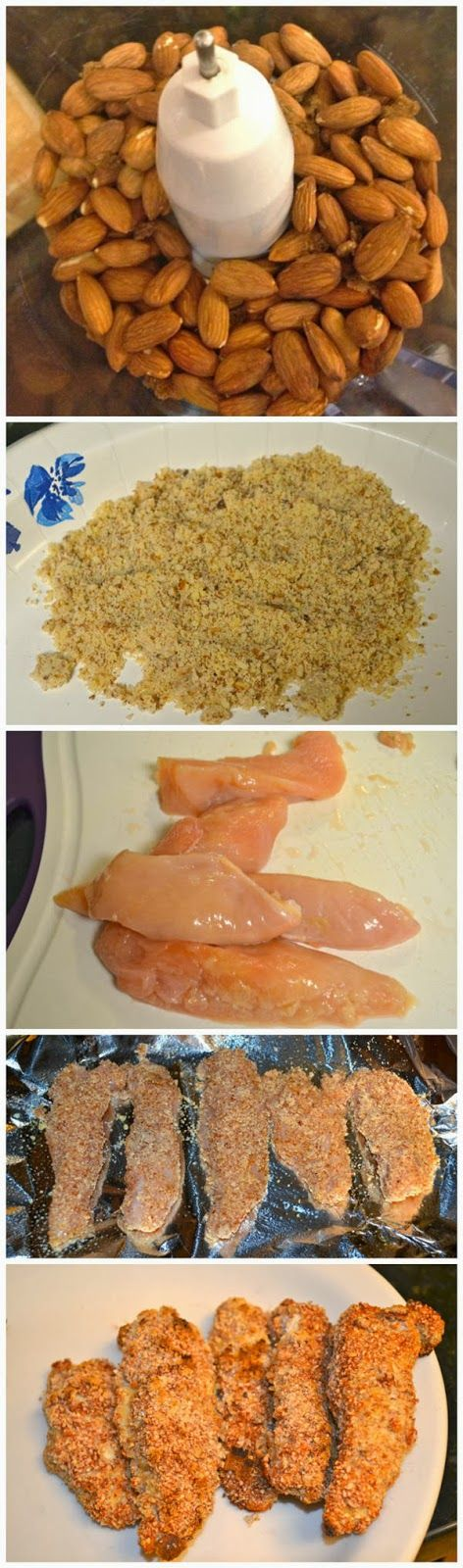 Ingredients    -1 cup of raw unsalted almonds  -1 chicken breast  -extra virgin olive oil spray    Directions  See Full Recipe please vi...