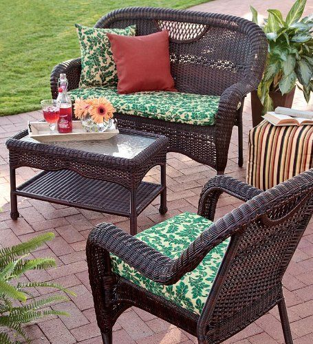 Prospect Hill Outdoor Resin Wicker Furniture Seating Set - Chair, Settee And Coffee Table by Plow & Hearth. $599.95. All-weather outdoor wicker glass-top coffee table. Prospect Hill Coffee Table. Our best-quality all-weather wicker: durable PVC wrapped around powder-coated aluminum frames. Our best-selling, all-weather Prospect Hill Outdoor Resin Wicker Glass-Topped Coffee Table is ideal for leisurely outdoor living. Our resin wicker and glass coffee table is crafted of hand-wov...