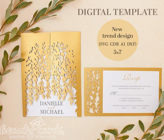 Wedding Invitation Template Envelope 5x7 Branches Tree Leaves Ai