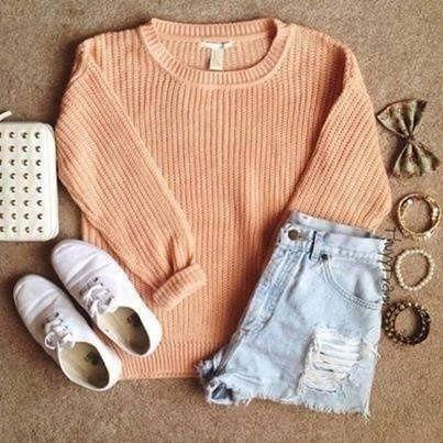 ; 33 #fashion #shorts #sweater #sneakers #orange