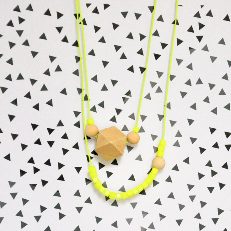 Neon yellow & wooden bead necklace. €14,00, via Etsy.