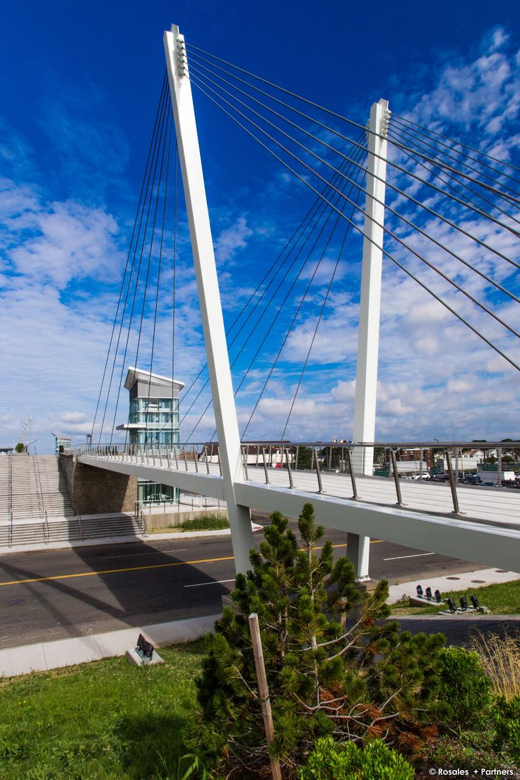 Cable Stayed Bridge with Stainless Steel Cable Railings. THE MARKEY BRIDGE, Revere, Mass. USA