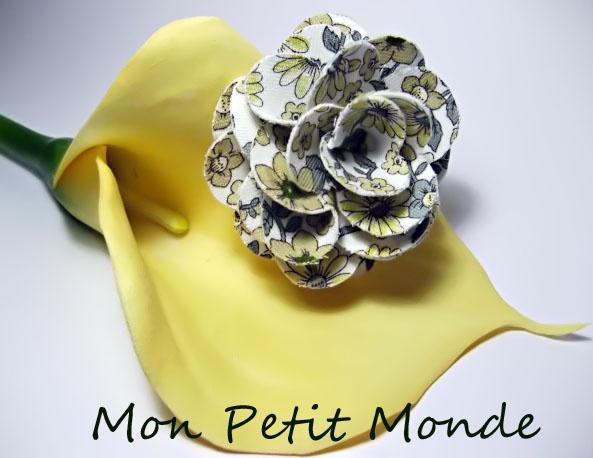 Flor para broches, coleteros o diademas en Verde, amarilla y gris