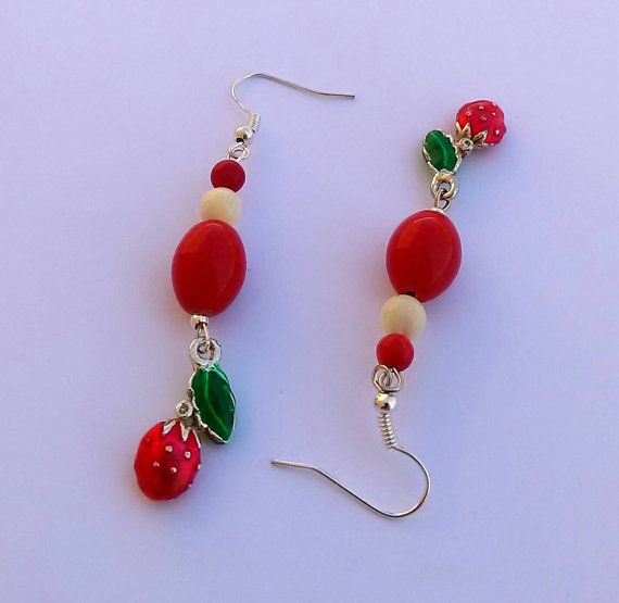 Strawberry beaded red white and green long by personal2treasures