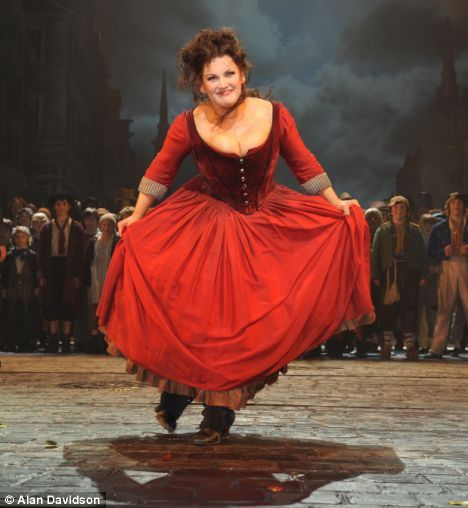 Curtain call: Jodie takes centre stage during a production of Oliver!