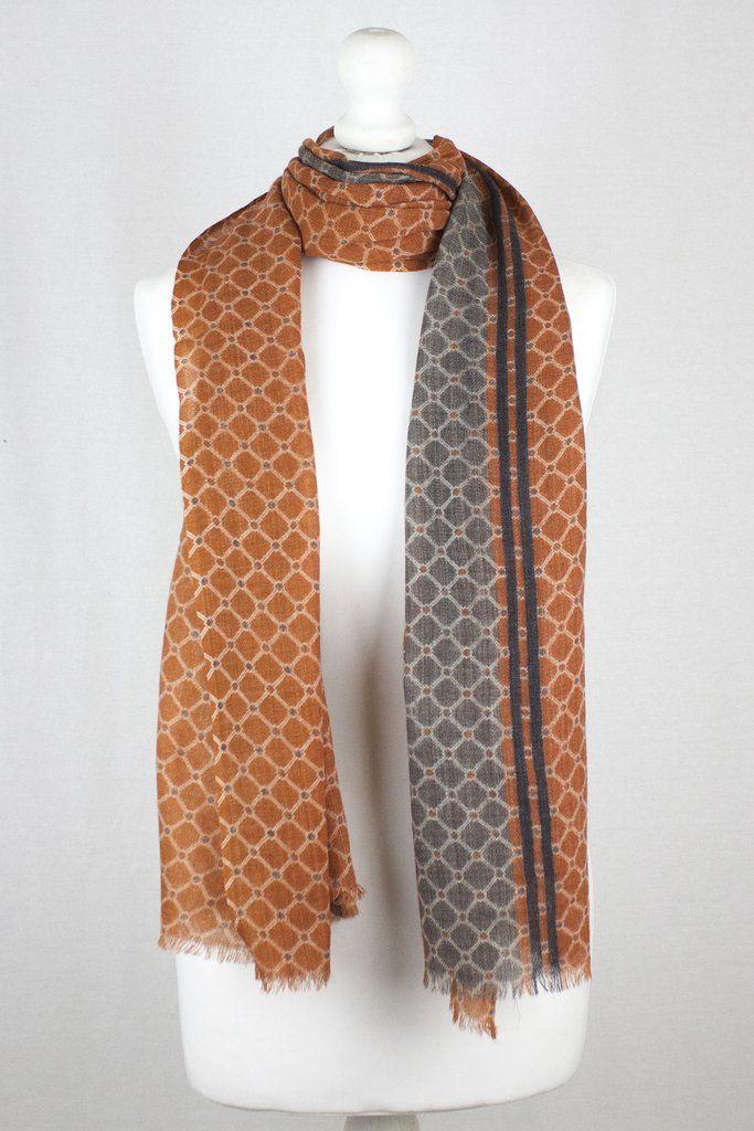 Diamond Net Print w/ Side Border Merino Wool Scarf - Orange