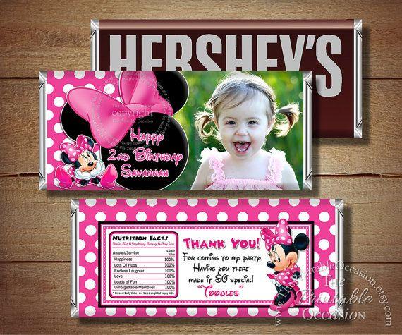 Printable Minnie Mouse Birthday Candy Bar Wrapper, Pink Polka Dot Minnie Mouse Photo Candy Bar Wrapper, Printable Wraps, Birthday Printables on Etsy, $4.50