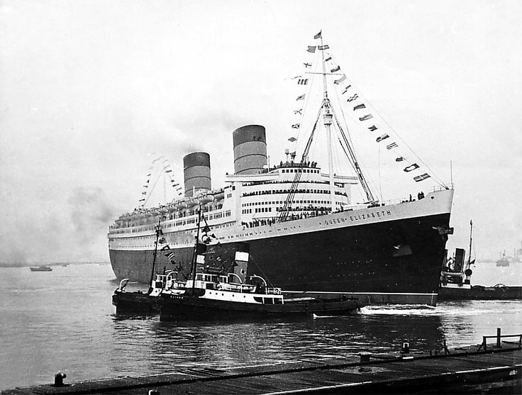 RMS Quen Elizabeth - The moment has finally arrived as RMS Queen Elizabeth departs on October 16, 1946 for her official Maiden Voyage to New York
