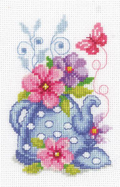 Teapot with Flowers Cross Stitch Kit   sewandso