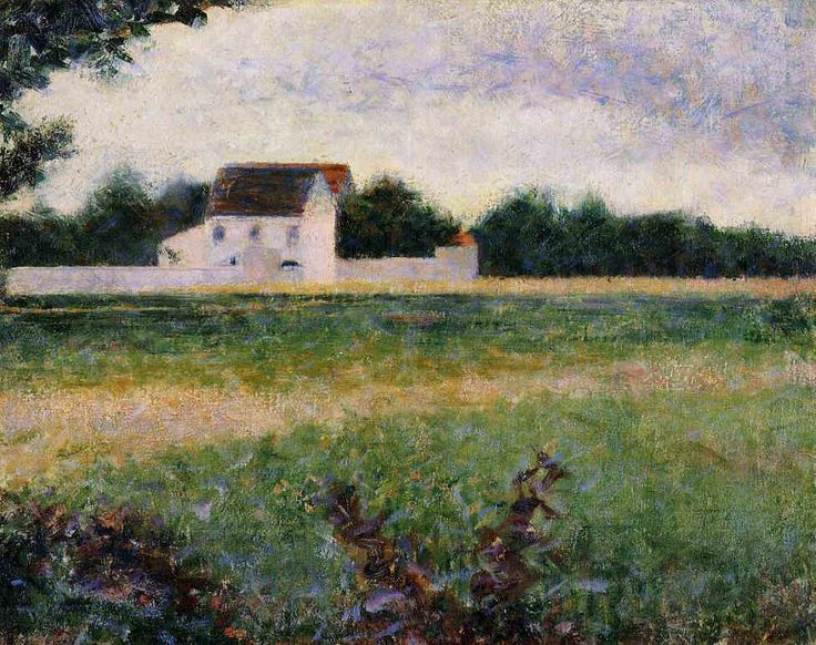 ジョルジュ・スーラ Georges Seurat : Landscape of the Ile de France 「イル=ド=フランスの風景」 1881-82   32.5x40.5cm   ボルドー美術館