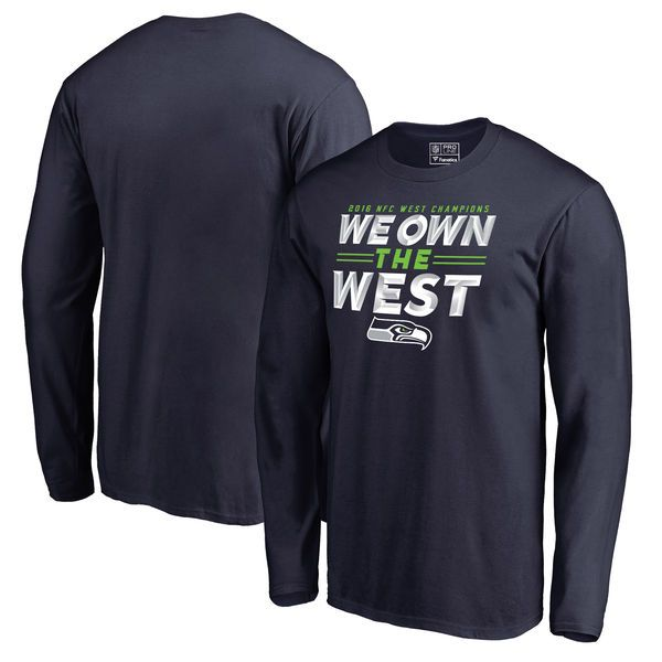 Seattle Seahawks Pro Line by Fanatics Branded 2016 NFC West Division Champions Edged Long Sleeve T-Shirt - College Navy - $23.99