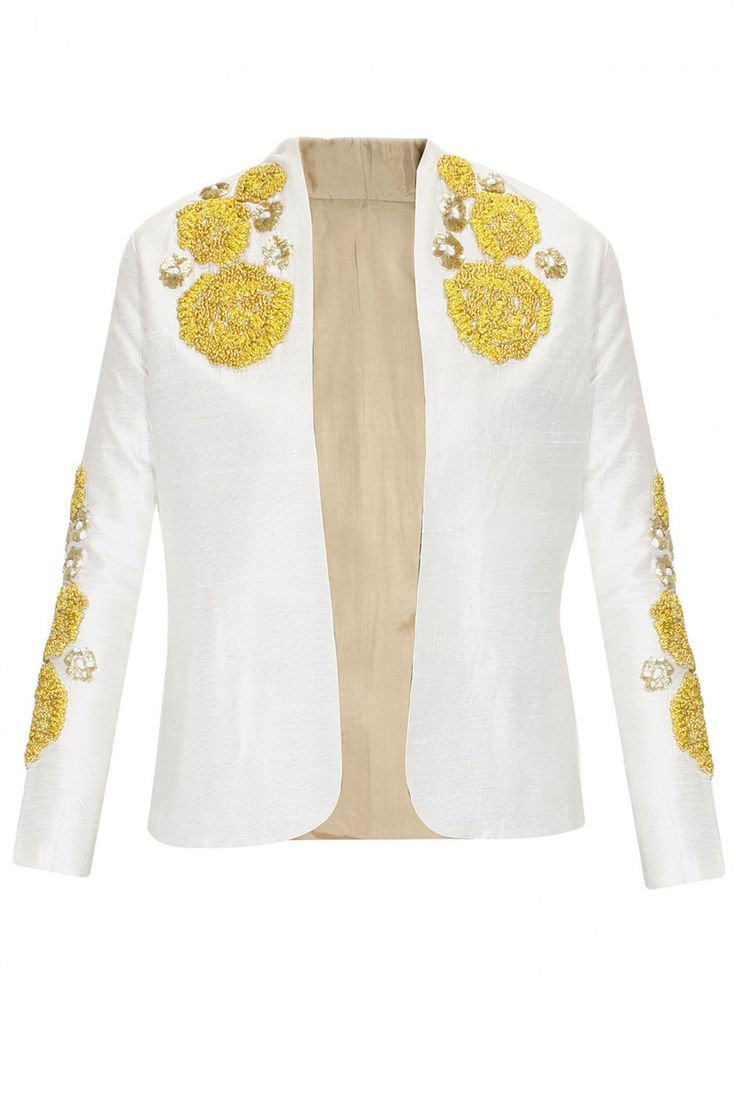 TROPHY JACKETS : White roses embroidered jacket by Bhumika Sharma. Shop now at www.perniaspopups... #fashion #designer #bhumikasharma #beautiful #couture #shopnow #perniaspopupshop #happyshopping