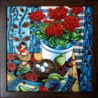 "Gallery.ru / ""Натюрморт с пеларгониями"", стекло 40*40 см. + баг - Картины - enehi"