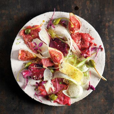Taste Mag | Seared beef carpaccio with fig- and-fennel salad @ http://taste.co.za/recipes/seared-beef-carpaccio-with-fig-and-fennel-salad/