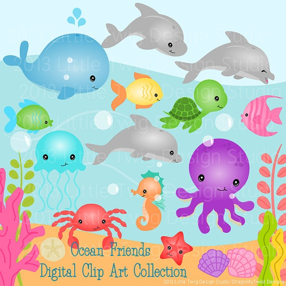 Ocean Animals Digital Clipart clip art by Dragonflytwist on Etsy, $5.50