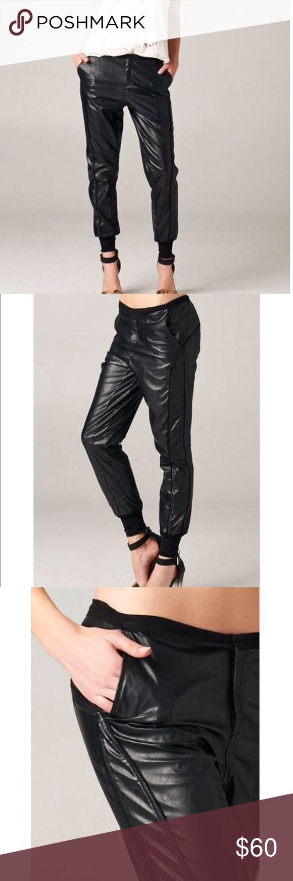 Black Faux Leather Jogger Pants Coming soon Pants Track Pants & Joggers