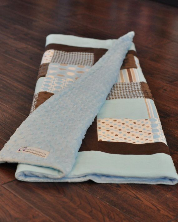 Classic, simple brown and blue baby quilt. Perfect in blue and brown nursery. Flannel and minky fabrics.