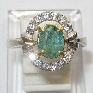 Cincin Wanita Zamrud Silver Ring 8.5 US