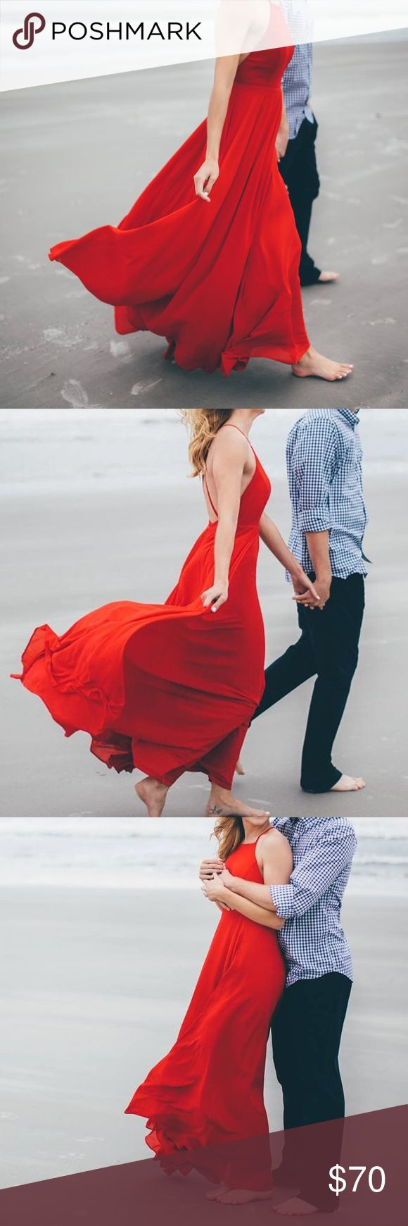 Red Maxi Dress STUNNING MAXI DRESS!!! super flowy, fully lined, soft material. Criss cross straps in the back, open back. Straps are adjustable. Halter neckline. Long in length. Only worn for engagement pictures Lulu's Dresses Maxi