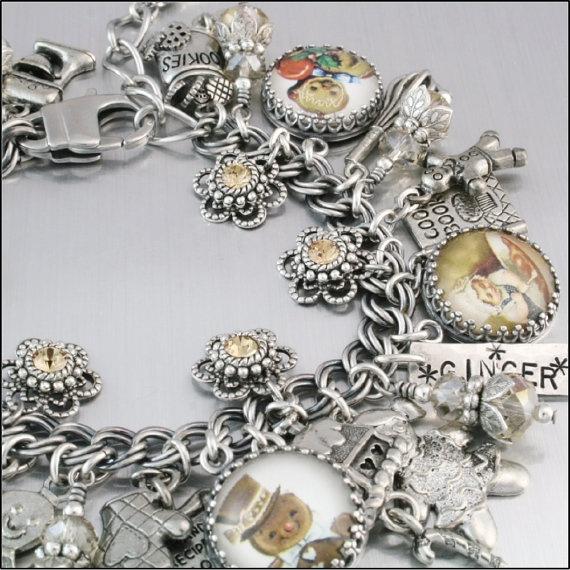 Gingerbread Man Charm Bracelet Silver Charm by BlackberryDesigns, $87.00