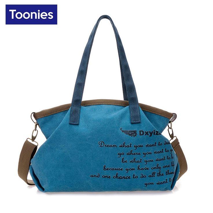 13.66$  Buy now - http://ali1qa.shopchina.info/go.php?t=32798479760 - 2017 Fashion Canvas Bag Women Handbag Shoulder Messenger Bags Casual Blue Khaki Bolsa Feminina Large Capacity Sac a main  #aliexpresschina
