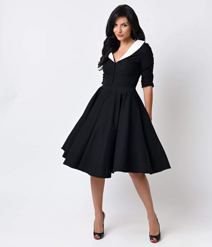 Pin Up Dresses | Pin Up Clothing Unique Vintage 1950s Black  White Sleeved Eva Marie Swing Dress $98.00 AT vintagedancer.com