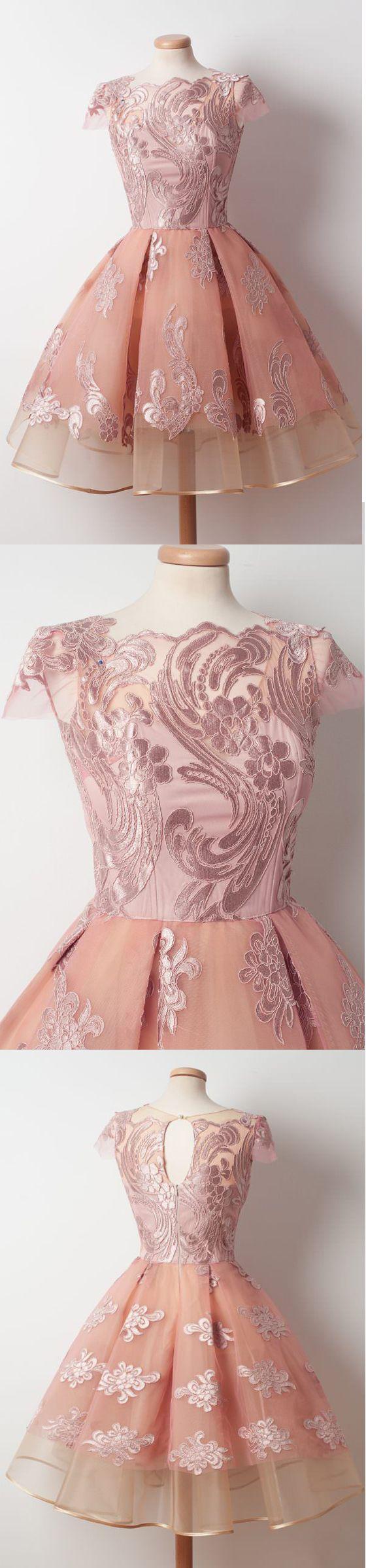 Cap Sleeves Junior Pretty Applique Short Homecoming Dresses, WG805