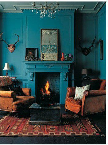 the balance of raw turquoise and masculine features makes this room a strong focal point of any house!
