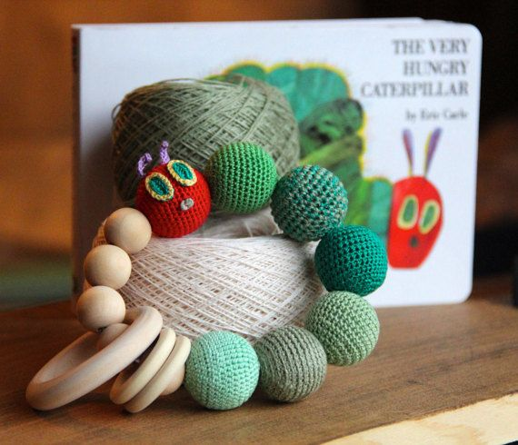 The Hungry Caterpillar wooden rattle. Crochet wooden teether. Teething toy. Sensory toy. Teething bracelet. Organic toy. Baby shower gift
