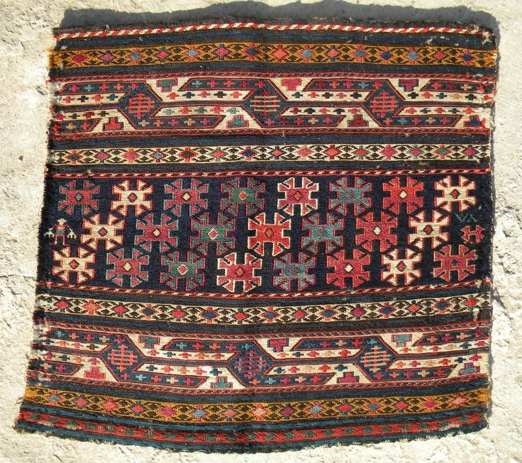 NW Persian sumak mafrash end panel, 47 x 50 cms, probably from Shahsavan tribes in southern Shirvan area, near the Moghan steppe, great range of colours and a rare centre section design,  ...