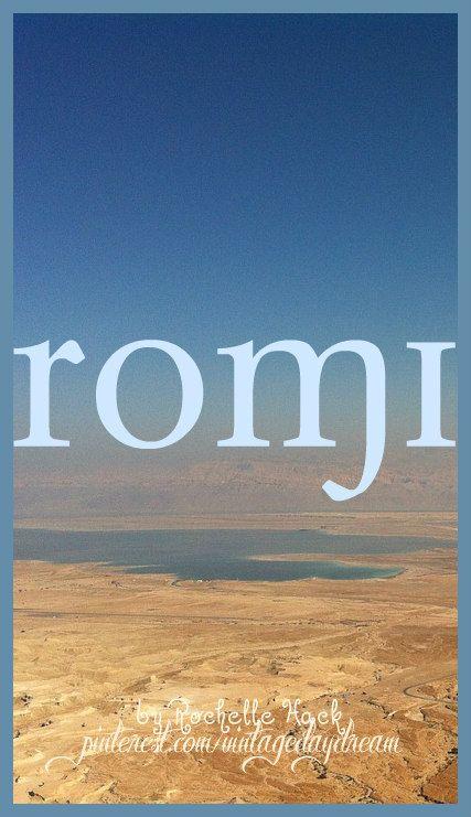 Baby Girl name: Romi (RO-mee). Meaning: Dew of the Sea; High. Origin: German; Slavic; Italian; Hebrew. https://www.pinterest.com/vintagedaydream/baby-names/