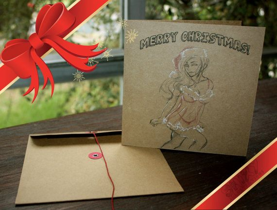 Sexy Lady in Lingerie Kraft Christmas Card by Enixy on Etsy