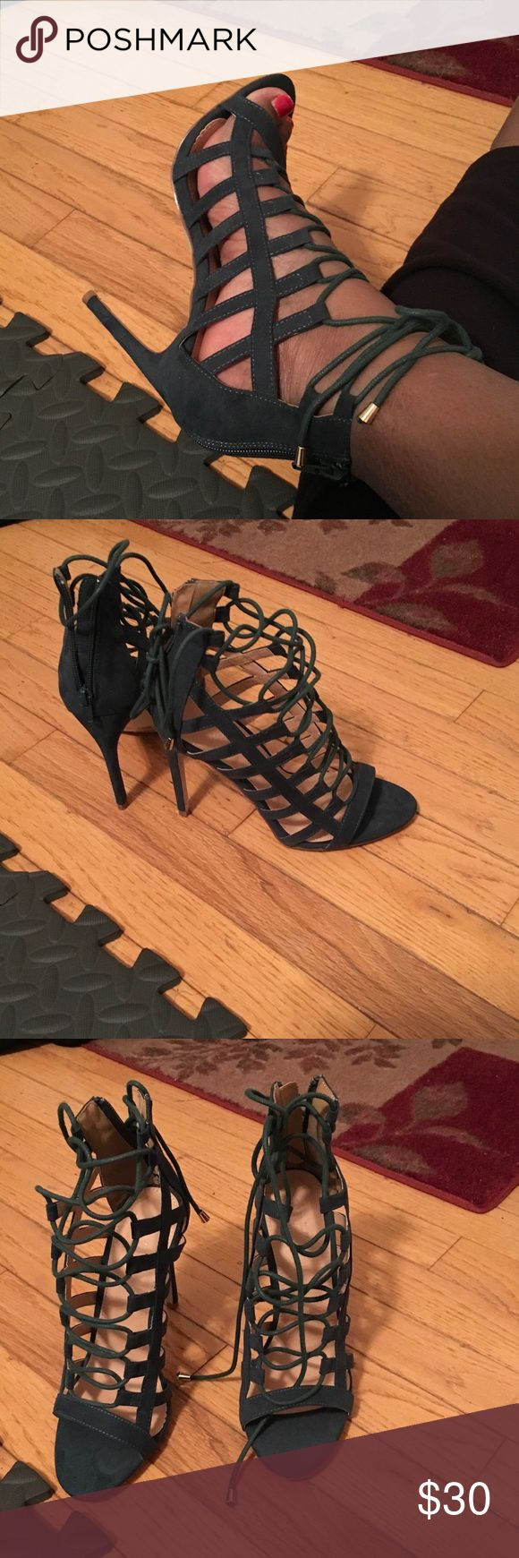 New Green caged heels Charlotte Russe's green caged zipper back heels, never worn Charlotte Russe Shoes Heels