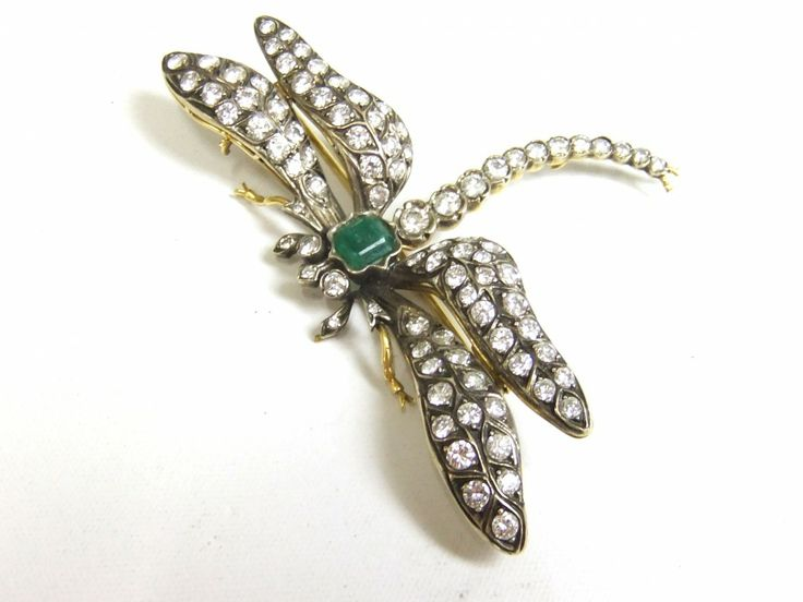 Emerald and diamond dragonfly brroch