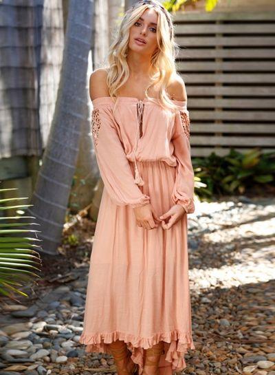 b0616d77fc Off Shoulder Lace Panel Long Sleeve Solid Color High Low Dress - OASAP.com