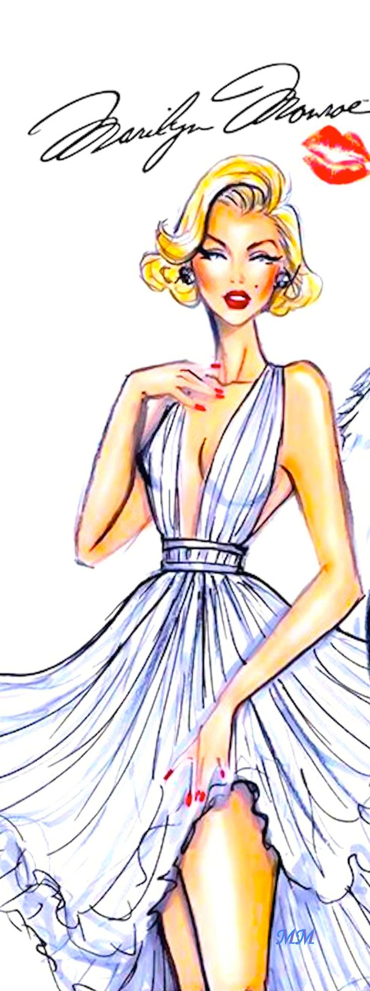 Marilyn Monroe by Hayden Williams Fashion Illustration   House of Beccaria~